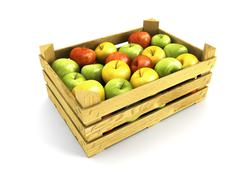wooden crate full of apples - stock illustration