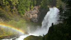 Sahalie Falls with Rainbow - stock footage