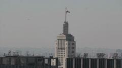 View of the city. Sao Paulo, Brazil. Banespa building and Sao Paulo´s flag. Stock Footage