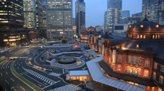 View of Tokyo station at night, Tokyo, Japan Stock Footage