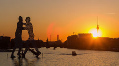 Stock Video Footage of Berlin spree sunset time lapse