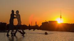 Berlin spree sunset time lapse Stock Footage