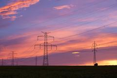 Transmission towers - stock photo