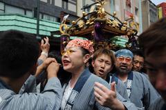 Performers At Asakusa Sanja Matsuri - stock photo