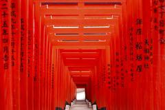 Torii Gates At Hie Shrine - stock photo