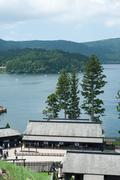Lake Ashi coast - stock photo