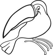 Stock Illustration of cartoon toucan for coloring book