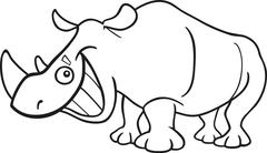 rhinoceros for coloring book - stock illustration