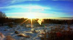 Perlan sunset view in Reykjavik Stock Footage