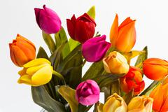 a top view of a bouquet of tulips - stock photo