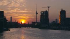 Berlin sunset river spree, 4K raw Stock Footage