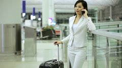 City Airport Departure Asian Chinese Finance Female Wireless Smart Phone - stock footage