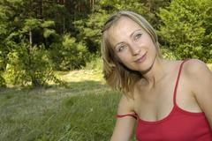 nice girl on the grass-plot - stock photo