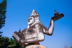 buddha park in vientiane, laos. famous travel tourist landmark of buddhist st - stock photo