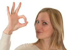 young woman showing ok - stock photo