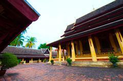 buddhist wat sisaket in vientiane, laos - stock photo