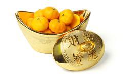 Mandarin oranges in gold ingot Stock Photos