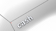 Growing chart graphic animation, Cash. Stock Footage