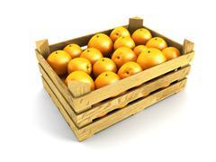 Wooden crate full of oranges Stock Illustration