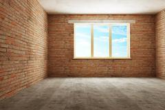 new empty room 3d - stock illustration