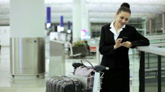 Female Caucasian Business Traveller Airport Wireless Smart Phone Stock Footage