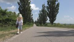 Stock Video Footage of POV Little Girl Walking on Road, Traffic, Trekking Runaway Unhappy Sad Child