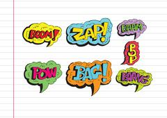 multicolored comic sound effects  speech bubble cartoon - stock illustration