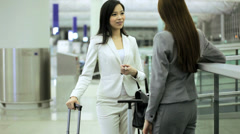 Females Asian Chinese Airport Flight Passengers Business Meeting Baggage Stock Footage