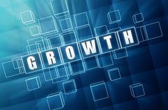 Growth in blue glass cubes Stock Illustration