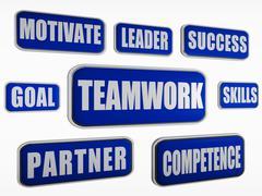teamwork - blue business concept - stock illustration