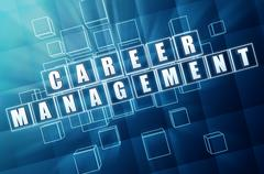 career management in blue glass cubes - stock illustration