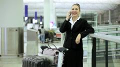 City Airport Departure Caucasian Business Finance Woman Wireless Smart Phone - stock footage