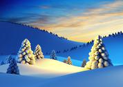 Stock Illustration of winter landscape with fir trees