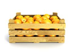 wooden crate full of oranges. - stock illustration
