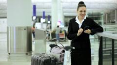 Caucasian Female Business Airport Travel Destination Smart Phone Stock Footage