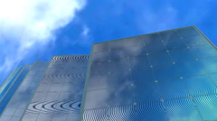 Solar panel and sky background, concept animation Stock Footage