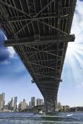 Under the Bridge in Sydney Harbour Stock Photos