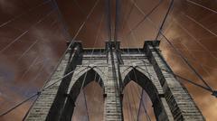 Sky over Brooklyn Bridge in New York City Stock Photos
