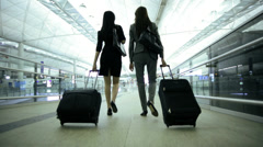 Asian Chinese Corporate Females Airport Global Business Travel Executive Stock Footage