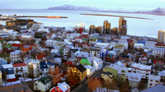 Reykjavik Downtown from above Stock Footage