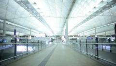 Indoors International Airport Terminal Modern Structure Transport Stock Footage
