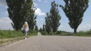 Stock Video Footage of POV Little Girl Walking Road, Traffic, Runaway Unhappy Sad Child, Countrywoman