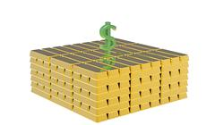 Stock Illustration of Dollar on gold