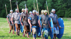 Roman army is marching Stock Footage