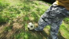 Sequence on child playing football in the garden: outdoor, soccer, run, children Stock Footage