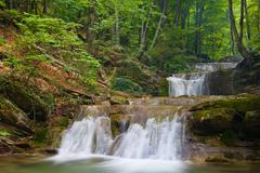 Nice waterfall in green forest Stock Photos