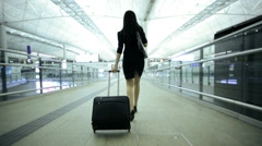 Asian Chinese Corporate Female Airport Global Business Travel Executive Stock Footage