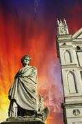 Sky Colors over Piazza Santa Croce in Florence Stock Photos
