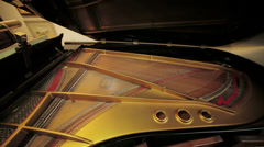 grand piano interior mechanism: playing music, strings, wood, concert musician - stock footage
