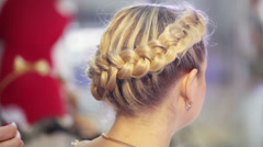 Laying braids using studs Stock Footage